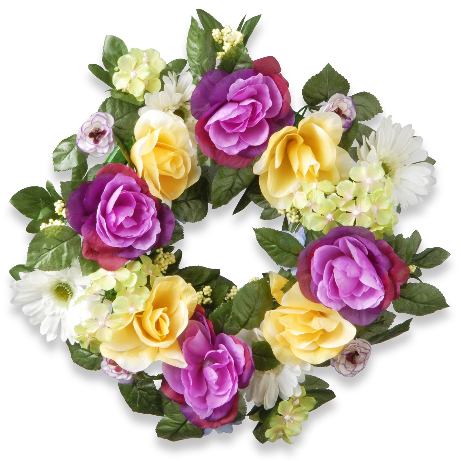"National Tree Artificial 18"" Flower Decorated Wreath"