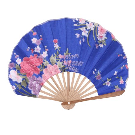 Bamboo Frame Floral Print Chinese Style Summer Dancing Hand Fan Multicolor