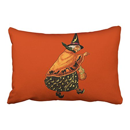 WinHome Artistic Vintage Fashion Happy Halloween Old Witch Watercolor Orange Polyester 20 x 30 Inch Rectangle Throw Pillow Covers With Hidden Zipper Home Sofa Cushion Decorative Pillowcases - Old Fashioned Halloween Pics