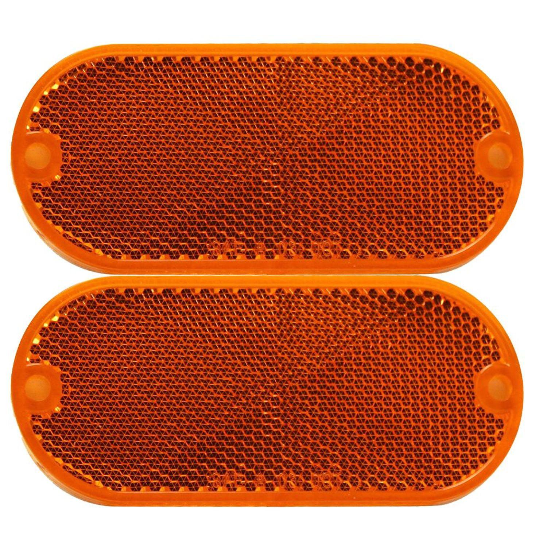 Pilot Automotive NV-5022A 2 Piece Oval Stick On Side Marker / Reflector Lights-Amber Size: 3-15/16 x 1/4