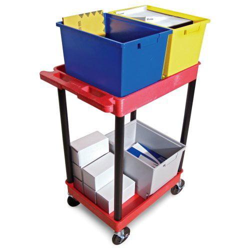 Luxor 2 Shelf Red Polyethylene Mail Cart