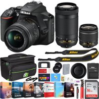 Nikon D3500 24.2MP DSLR Camera w/ AF-P 18-55mm VR Lens & 70-300mm Dual Zoom Lens - (Renewed) + 16GB Bundle