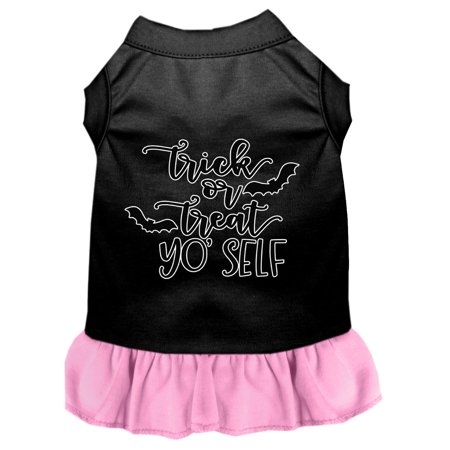 Trick Or Treat Yo' Self Screen Print Dog Dress Black With Light Pink Xl](Yo Dog)