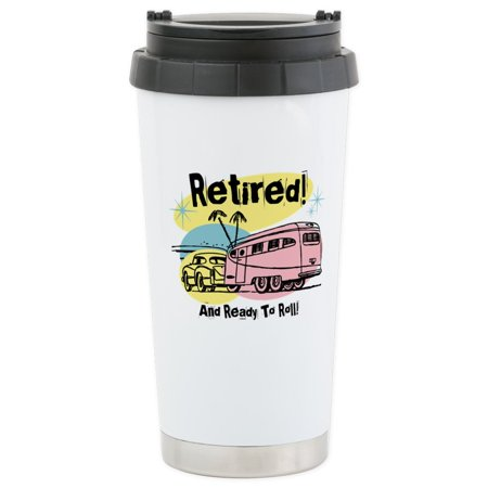 CafePress - Retro Trailer Retired Stainless Steel Travel Mug - Stainless Steel Travel Mug, Insulated 16 oz. Coffee (Best Small Travel Trailer For Retired Couple)