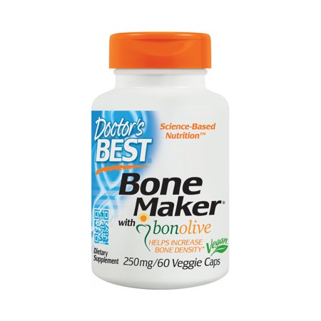Doctor's Best Bone Maker with Bonolive, Non-GMO, Vegan, Gluten Free, Soy Free, Helps Increase Bone Density, 250 mg, 60 Veggie (Best Height Increase Supplement)