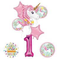 """""""Believe In Unicorns"""" 8-Piece Birthday Balloon Bouquet (Click to Select Age)"""
