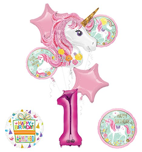 "Unicorn Party Supplies ""Believe In Unicorns"" 1st Birthday Balloon Bouquet Decorations"