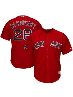 J.D. Martinez Boston Red Sox Majestic 2018 World Series Champions Team Logo Player Jersey - Scarlet