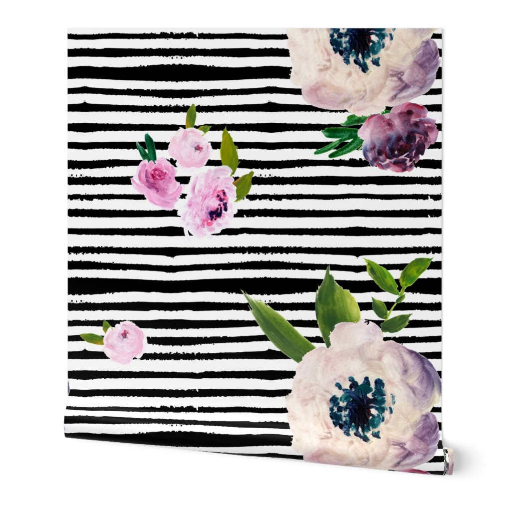 Wallpaper Roll Watercolor Striped Floral Black And White Stripes