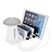 AUPERTO USB Charging Station for Multiple Devices - 5 Port Quick Charger Desk Docking Organizer for IPhone IPad Tablets Samsung Cellphones