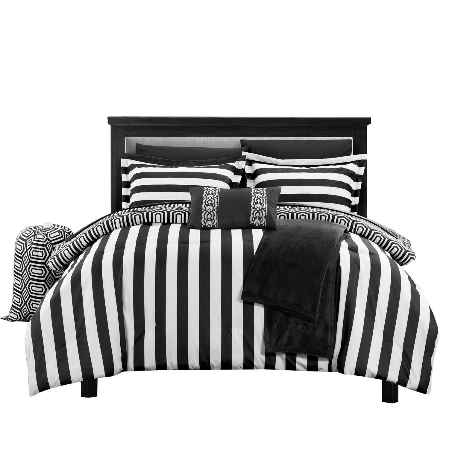 Lyon Paris Striped Comforter Sheet Set Bed In A Bag Full & Twin XL Black