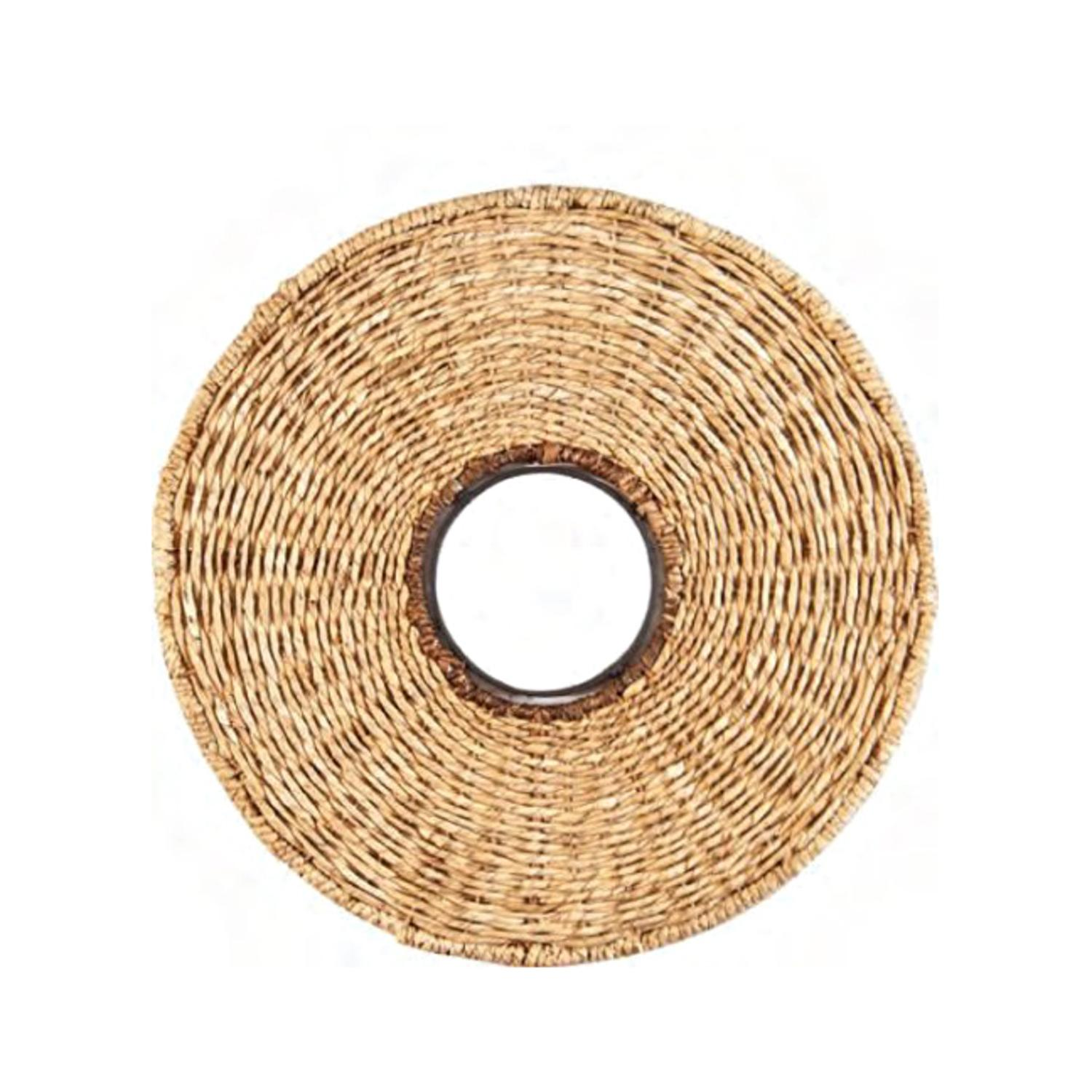 "20"" Rustic Basket Wicker Woven Round Wall Mirror"