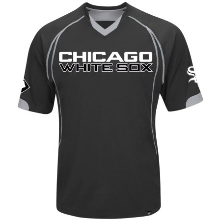 "Chicago White Sox Majestic MLB ""Lead Hitter"" V-Neck Mens Fashion Jersey Black by"