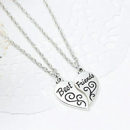 One Link Cable Necklace Cable Chain Broken Heart Friendship BFF Message