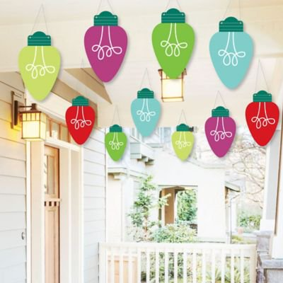 Hanging Christmas Light Bulbs - Outdoor Holiday Party Hanging Porch and Tree Yard Decorations - 10 Pieces ()