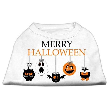 Merry Halloween Screen Print Dog Shirt White XS (8) - Merry Halloween