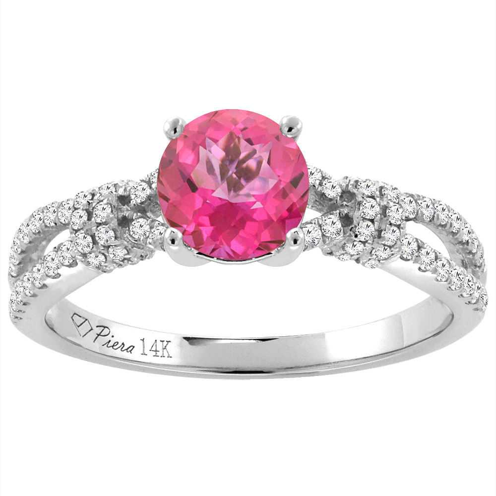 14K White Gold Diamond Natural Pink Topaz Engagement Ring Round 7 mm, size 5.5 by Gabriella Gold