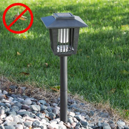 Pure Garden Solar Power Uv Mosquito And Bug Zapper Led Light Black