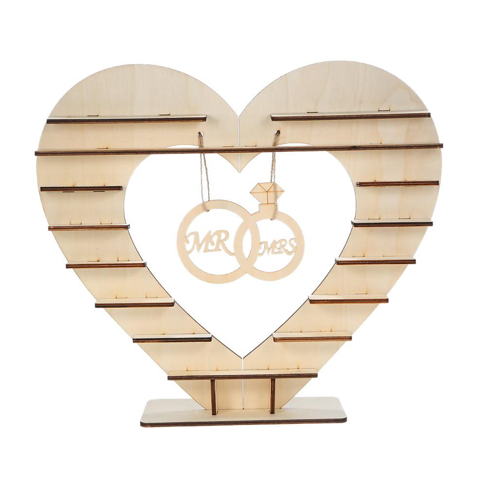Wooden Heart Chocolate Dessert Display Stand Holder Mr /& Mrs Wedding Party Decor