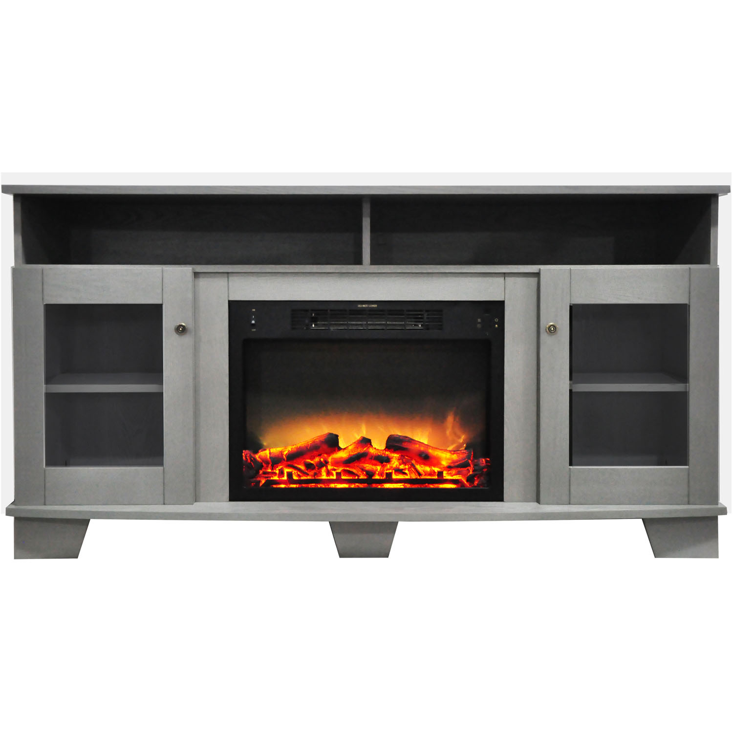 "Cambridge Savona Electric Fireplace Heater with 59"" Entertainment Stand plus Enhanced Log and Grate Display"