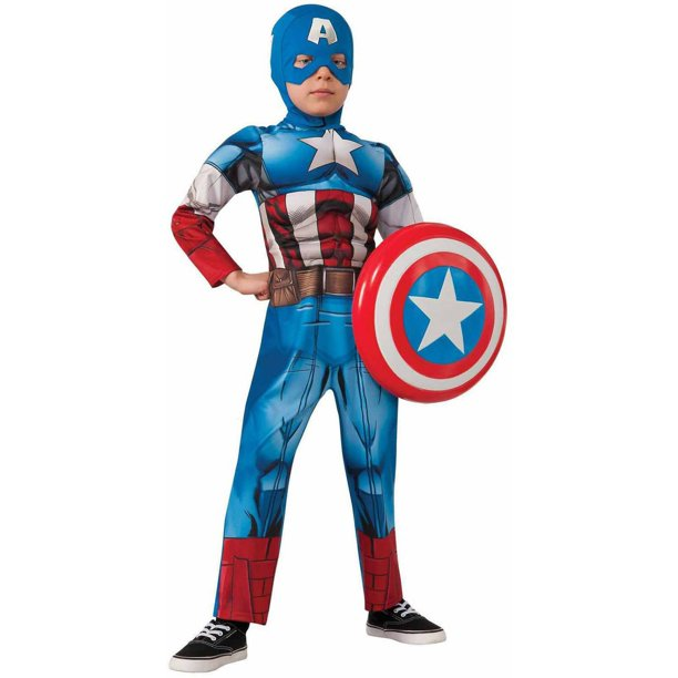 Boy S Deluxe Muscle Captain America Halloween Costume Walmart Com Walmart Com Western costume out of north hollywood made the filmation captain marvel suit seen on. walmart