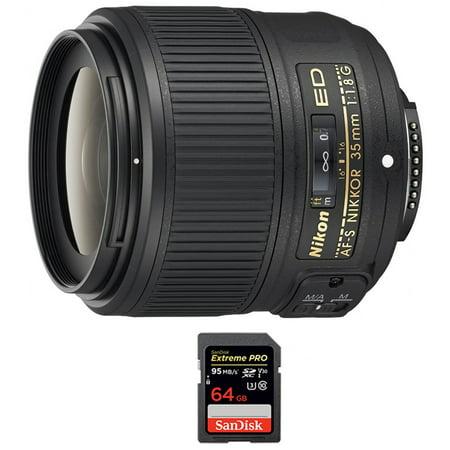 Nikon AF-S NIKKOR 35mm f/1.8G ED Lens (2215) with Sandisk Extreme PRO SDXC 64GB UHS-1 Memory (Nikon 70 200mm F 2-8 Ed Vr)