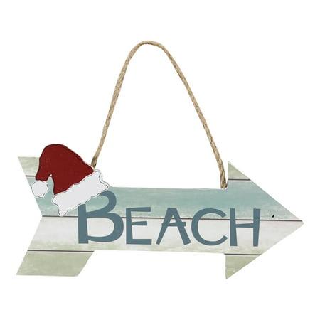 Santas Hat on Directional Beach Arrow Christmas Holiday Ornament