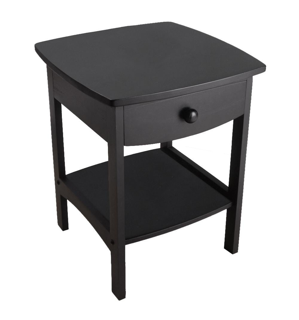 Winsome Trading Curved 1 Drawer Nightstand End Table Walmartcom