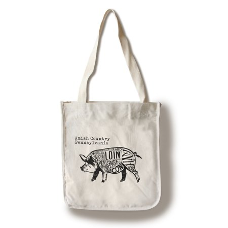 Amish Country, Pennsylvania - Butchers Block Meat Cuts - Black Pig on White - Lantern Press Artwork (100% Cotton Tote Bag -