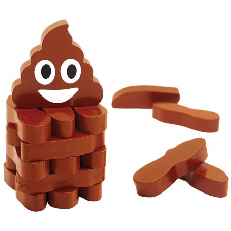 Stack The Poops Game - Includes 45 Wood Brown Doodoo Blocks - Ages 6+ (Base Ten Blocks Games)