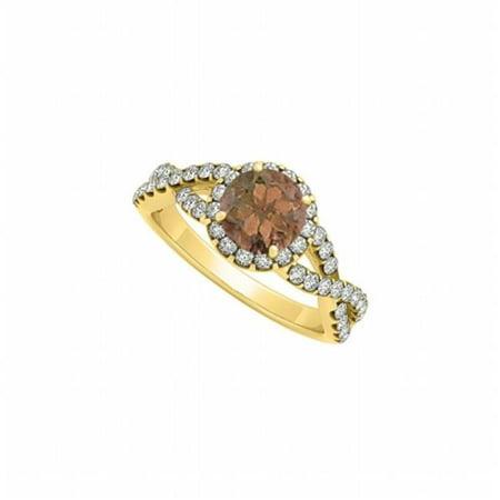 Fine Jewelry Vault UBNR84630AGVYCZSQ Criss Cross Shank Halo Engagement Ring With Smoky Quartz June & CZ April Birthstone, 46 Stones ()