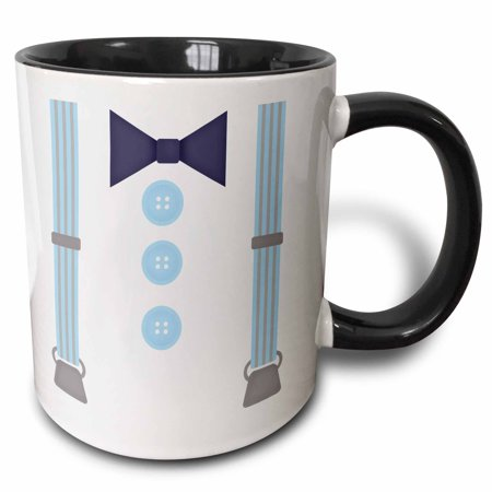3dRose Cute Hipster Suspenders and Bow Tie In Blue - Two Tone Black Mug, 11-ounce