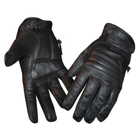 Redline Women's Soft Fleece Lining Motorcycle Leather Gloves, Black GL-56