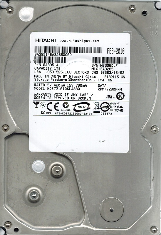 BA3285 China Hitachi 1TB HDE721010SLA330 P//N 0A39514 MLC