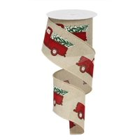 "Vintage Red Truck With Christmas Tree Wired Ribbon 2.5"" X 10 Yards"