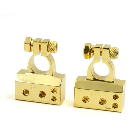 (2Pcs Gold Tone Positive Nagative Battery Terminal Clamp Post Connector for Car)