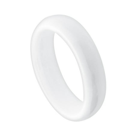 High Dome Ring (5mm - For Men or Ladies White Domed High Polished Ceramic Wedding Band Ring)