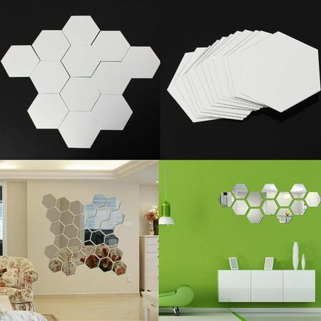 12-Pack Hexagonal 3D Modern Acrylic Mirror Wall Sticker ...