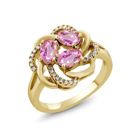 2.02 Ct Oval Pink Sapphire 18K Yellow Gold Plated Silver - Sapphire Gold Plated