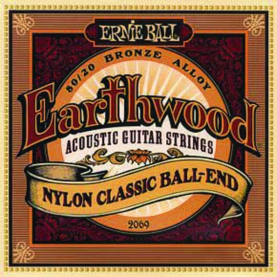 Ernie Ball 2069 Earthwood Folk Nylon, Clear and Gold Ball End Acoustic/Classical Guitar Strings, 28-42