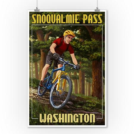 Snoqualmie Pass  Washington   Mountain Biker In Trees   Lantern Press Poster  9X12 Art Print  Wall Decor Travel Poster