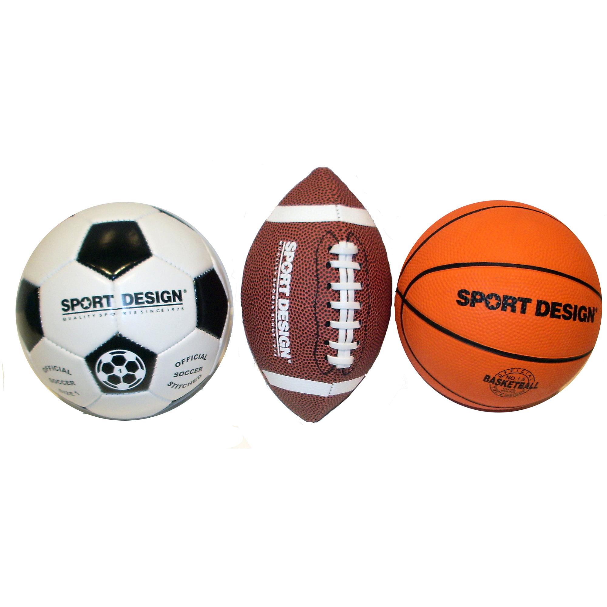 Sport Design Mini Ball Set, Soccer, Football and Basketball ...