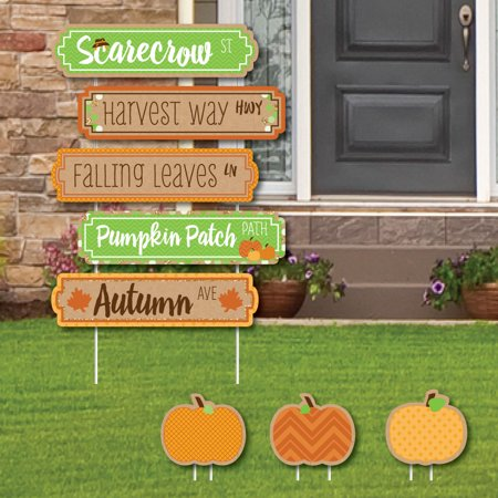 Pumpkin Patch Street Sign Cutouts - Fall & Thanksgiving Party Yard Signs & Decorations - Set of 8