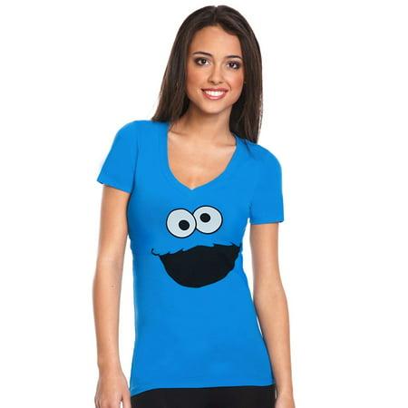 Sesame Street Cookie Monster Face V-Neck Junior Ladies
