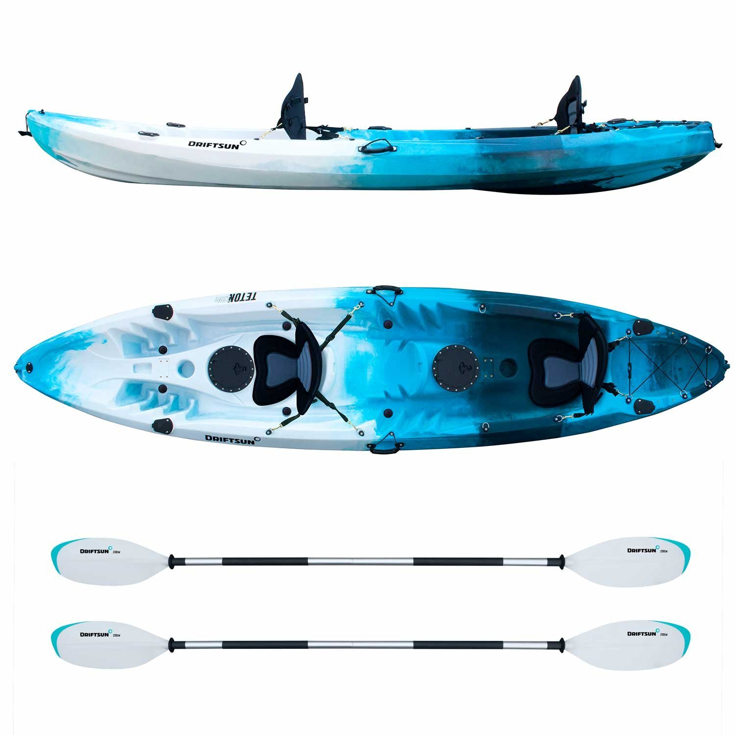 Driftsun Teton 120 Hard Shell Recreational Kayak – Tandem 2 or 3 Person Sit On Top Kayak Package with 2 EVA Seats, 2 Paddles, Fishing Rod Holders and More