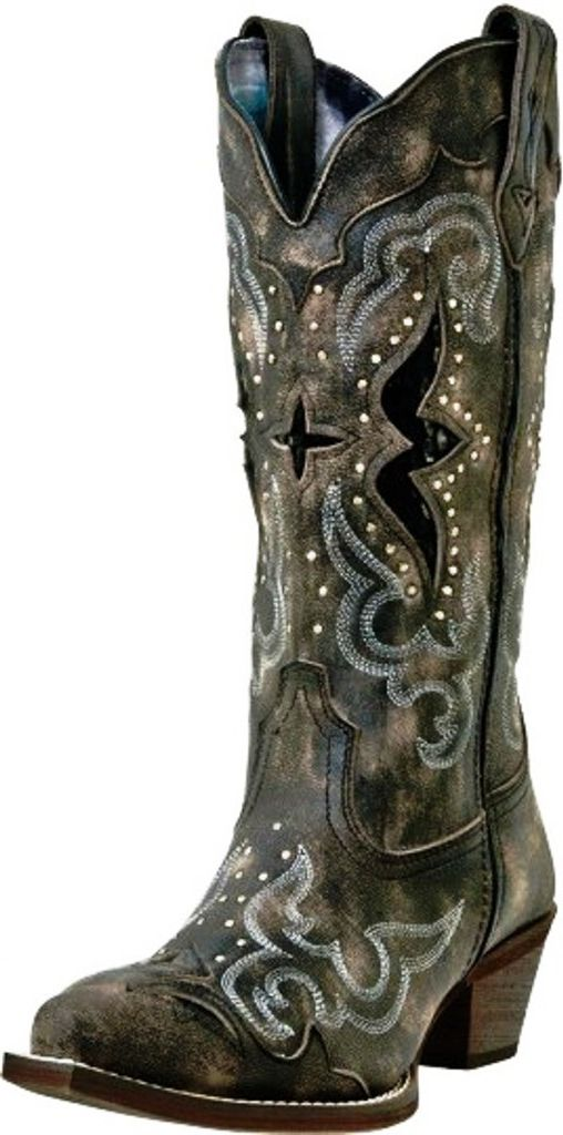 Laredo Western Boots Womens Lucretia Snake Print Inlay Black Tan 52133 by Laredo