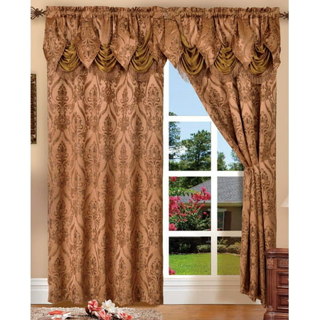- SET OF 2 PENELOPIE CURTAIN PANELS WITH ATTACHED AUSTRIAN VALANCE 84 inches long window, BROWN