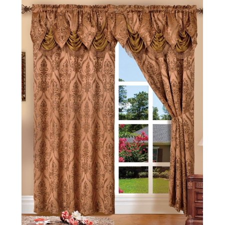 SET OF 2 PENELOPIE CURTAIN PANELS WITH ATTACHED AUSTRIAN VALANCE 84 inches long window, BROWN