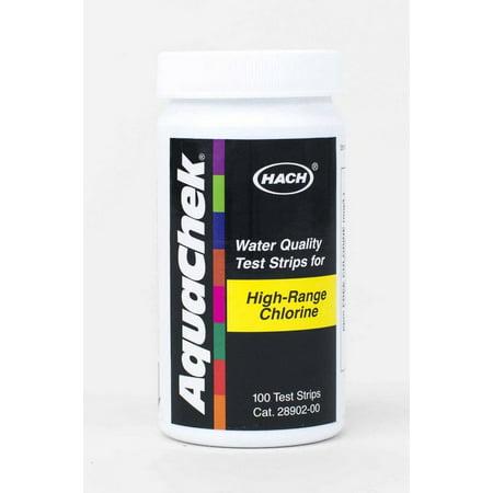 Aquachek 652013 Swimming Pool Spa High Range Chlorine Test Strip Kit 100 Strips