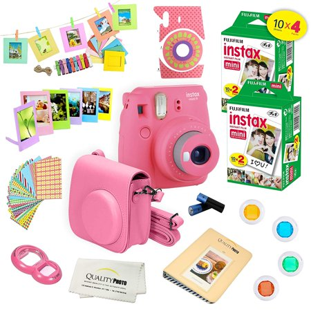 Fujifilm Instax Mini 9 Camera Pink + 15 PC Accessory Kit for Fujifilm instax mini 9 Instant Camera Includes: 40 Fuji Instax Films + Case + Album + Colored lenses + Assorted color/Style frames +